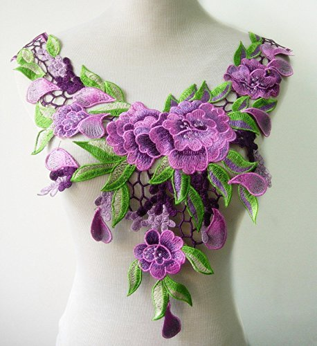 Embroidered Venise Lace Neckline Collar Violet Floral Green Leaf Applique Patches Scrapbooking Embossed Sewing T1335