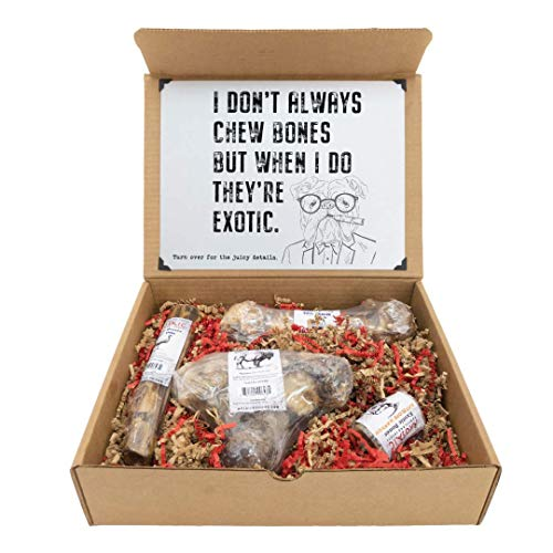 Mosaic Limited Edition Dog Bone Gift Box - 4 All-Natural, Long- Lasting Exotic Protein Bones - Emu, Bison, Antelope Marrow