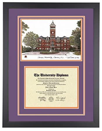 Amazon.com: CLEMSON UNIVERSITY Diploma Frame with Artwork in ...