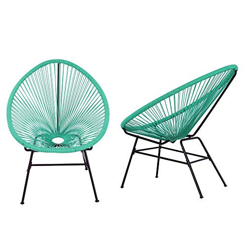 Acapulco Sun Chair Bistro Set Indoor Outdoor All-Weather Oval Weave Lounge Patio Papasan Chair (2 Piece Set, Turquoise) ()