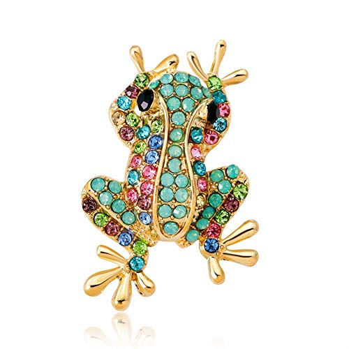 DDLLI Frog Brooch Pins Broaches and Pins for Women Pins for Jackets Animal Alloy Diamond Rhinestone Accessories for Women Broaches &Pins,Green ()