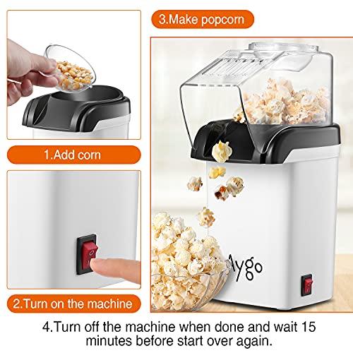 Aygo Popcorn-Maschine, Heißluft Popcorn-Maker für fettfreie Maiskörner Zubereitung, Retro Popkorn-Automat, Popcorn Popper für Heim-Kino Zuhause (Weiß)