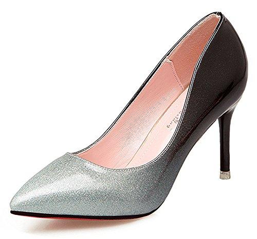 Showhow Slip En Punta De Vestir Elegante Para Mujer En Zapatos De Boda De Plata