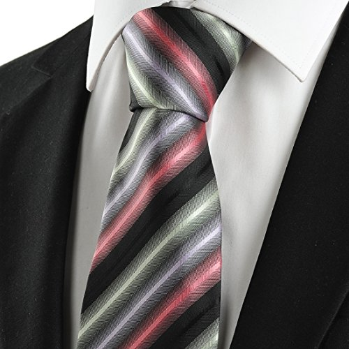 KissTies Mens Dirty Pink Black Tie Striped Necktie + Gift Box