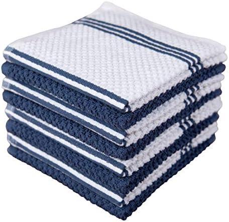 Sticky Toffee Cotton Terry Kitchen Dishcloth, 8 Pack, 12 in x 12 in, Dark Blue Stripe