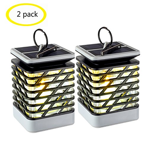 Espier Solar Candle Lantern, Solar Lights Outdoor Flickering Flame Effect Decorative Lamp for Garden Tree Yard Lawn Party, Waterproof Auto On Off(2 pack)