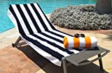 Egyptian Cotton Beach & Pool Towel Cabana Stripe-Oversized 35''x70''-620 GSM-Net Weight 2.2lbs-Hotel & Spa Premium Quality-Luxurious Terry Fabric both sides (1 towel per pack)