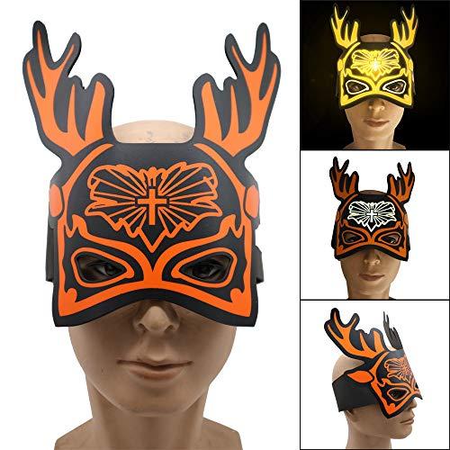 Cocal Creative Design Exquisite Christmas Deer Version Led Sound Reactive LED Mask, Lightweight Adjustable Music Light Up Mask Toy -