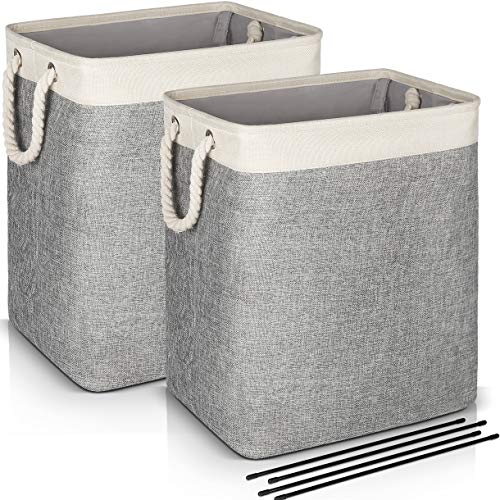 Laundry Basket with Handles 2 Pack, JOMARTO Collapsible Linen Laundry Hampers Built-in Lining with Detachable Brackets Well-Holding Laundry Storage Basket for Toys Clothes Organizer - Gray