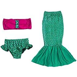 Lonchee Baby Girls Kids 3pcs Mermaid Tails Costume Swimwear Bikinis Swimsuit Bathing Outfits Dress