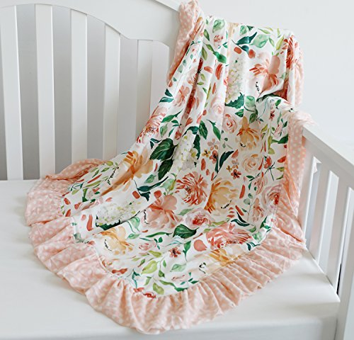 Sahaler Floral Minky Blanket Baby Girl Dot Ruffle Blankets Infants Toddlers Girl's Soft Throw Comfortable, (Secret Garden)