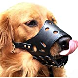 Kwan Leather Dog Muzzle for Anti-biting Anti-barking Anti-chewing Training All Size Allow Drink (L, Black)