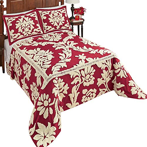 Collections Etc Nadia Floral Scroll Leaf Chenille Bedspread - Elegant Burgundy Background with Cream Tufts, Burgundy, Twin