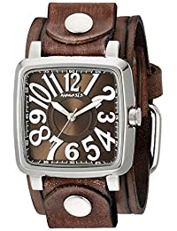 Nemesis Women's 218BVEB-B Brown 3D Squared Series Embossed Brown Striped Leather Cuff Band Analog Display Japanese Quartz Brown Watch