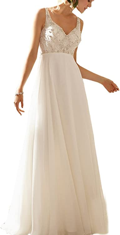 Abwedding Chiffon Wedding Dresses With Deep V Neck Crystal Beading Sequins A Line Boho Bridal Dress Beach Wedding Gowns Uk Size 14 Ivory Amazon Co Uk Clothing,Second Hand Wedding Dresses Uk Size 18