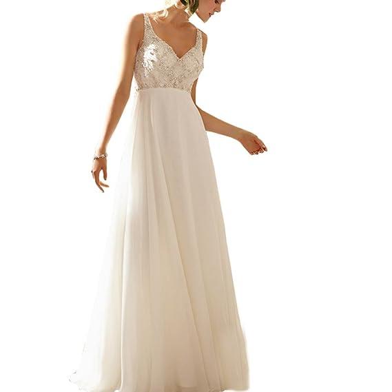 Abwedding Women Chiffon Wedding Dresses Deep V Neck Crystal Beading