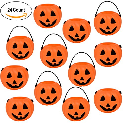 24 Halloween Mini Pumpkin Kettle Cups Trick Or Treats Plastic Buckets With Handles Goody Party Favors (Halloween Plastic Pumpkin Pails)