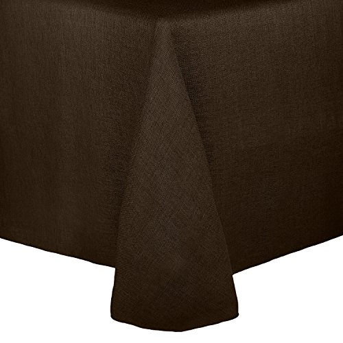 Ultimate Textile Faux Burlap - Havana 60 x 84-Inch Oval Tablecloth - Basket Weave, Chocolate (Brown Oval Dining Table)