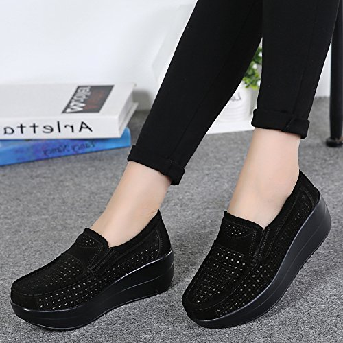 Comfort Loafers 3213 Shoes Sneakers Fashion Platform Enllerviid Suede Black Moccasins Women Slip On qFAwt