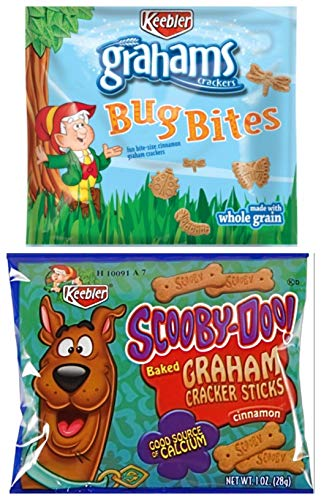 Keebler Graham Bug Bites and Scooby Snacks - Fun Bite size Animal Crackers Individual Package Variety Set - 10 of Each (Set of 20) -