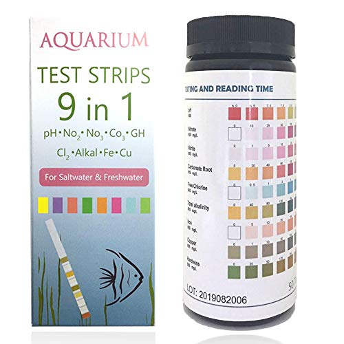 Qguai 9 in 1 Aquarium Test Strips, Water Test Strips for Saltwater Freshwater Pond Pool Spa, Test pH, Nitrate, Nitrite, Carbonate, Chlorine, Alkalinity, Hardness, Fast and Accurate,50-Strips (Aquarium Snail Chemical)