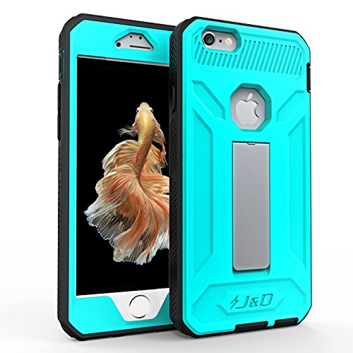 J&D Case Compatible for iPhone 6S Case, [Kickstand ArmorBox] Apple iPhone 6S Case [Heavy Duty] [Kickstand] Hybrid Shock Proof Fully Protective Case for iPhone 6S / iPhone 6 Case (Aqua)