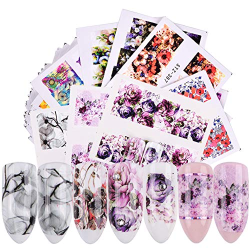 Full Nail Stickers for Women Water Transfer Nail Decals Nail Art Accessories 40 Sheets Large Nail Art Stickers Flower Nail Decoration Design Manicure Tips Charms Accessories DIY Nail Art Supplies