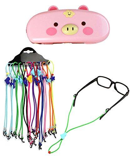 JE Bundle Set: Pig 3D Face Eyeglass Storage Case and (12 PCS) Colors Set Adjustable Length Neck Strap For Kids All ages