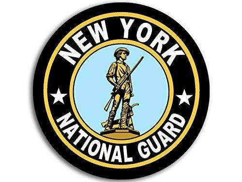(JR Studio 4x4 inch Round New York National Guard Seal Sticker (Logo Insignia Army) Vinyl Decal Sticker Car Waterproof Car Decal Bumper Sticker )