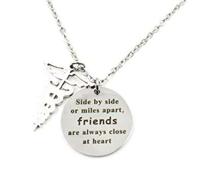 Amazon charml grace side by side or miles apart friends are amazon charml grace side by side or miles apart friends are always close at heart pendant necklace jewelry aloadofball Choice Image