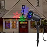 BIENNA Projector Lights, LED Magical Kaleidoscope Waterproof Spotlight Motion Snowflake Projection Lighting for Outdoor Bedroom Indoor Patio House Christmas Xmas Holiday Thanksgiving Party Colorful
