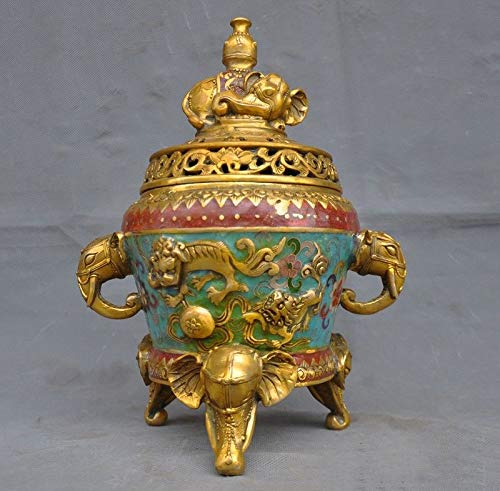 SIYAO Wedding Decoration Chinese Bronze Cloisonne Enamel Gilt Foo Dog Lion Elephant Incense Burner Censer