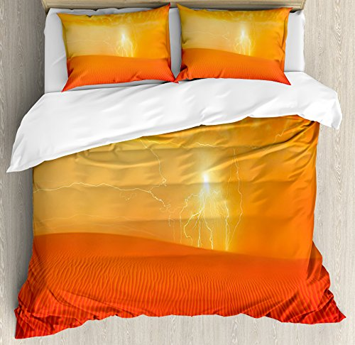 Nature Duvet Cover Set by Ambesonne, Hot Arabian Desert Landscape Dramatic Sunset in Sand Dune Wilderness Nature Theme, 3 Piece Bedding Set with Pillow Shams, King Size, Red Orange by Ambesonne
