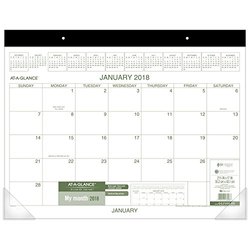 "AT-A-GLANCE Monthly Desk Pad Calendar, January 2018 - December 2018, 22"" x 17"", Two Color (GG250000)"