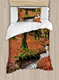 Ambesonne Landscape Duvet Cover Set Twin Size, Flowing Stream Colorful Autumn Forest Leaves Gorbea Natural Park Spain, Decorative 2 Piece Bedding Set with 1 Pillow Sham, Paprika and Green