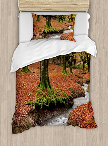 Ambesonne Landscape Duvet Cover Set Twin Size, Flowing Stream Colorful Autumn Forest Leaves Gorbea Natural Park Spain, Decorative 2 Piece Bedding Set with 1 Pillow Sham, Paprika and Green by Ambesonne