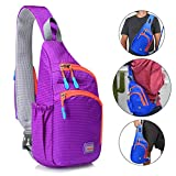 RedsGirl Small Lightweight Sling Crossbody Shoulder Chest Bags Pack Outdoor Sports Hiking Running Fitness Cycling Travel Daypack Single Strap Backpack for Men Women Teens Boys Girls Kids, Purple