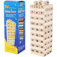 1 Set Kids Baby Digital Wooden Tower Building Blocks Toys Domino 54pcs and 4pcs Dice Stacker Stacker Extract Educational…