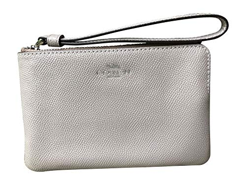 Coach Crossgrain Leather Corner Zip Wristlet (Grey Birch)
