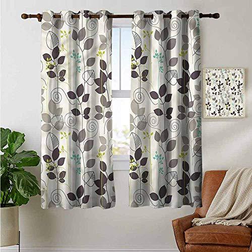 fengruiyanjing Windows Decor Curtain Panel Custom Panels for Girls Boys, Floral, Doodle Leaves Earth Tone (Set of 2 Panels)