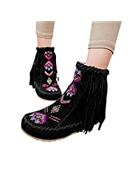 Susanny Cute Cotton Bohemian Boots Women's Faux Suede Flat Fringe Moccasin Ankle Snow Booties