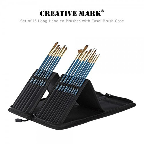 - Professional Artist Paintbrush Set & Pop up Carrying Case Travel Brush Easel- Long Handle Sablesque Bristles Assorted Size Brushes for Watercolor Plein Air, Acrylic, Oil, Gouache Painting [Set of 15]