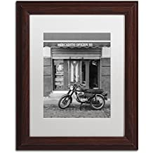 """Mercadito Oficios by Moises Levy in White Matte and Wood Framed Artwork, 11 by 14"""""""