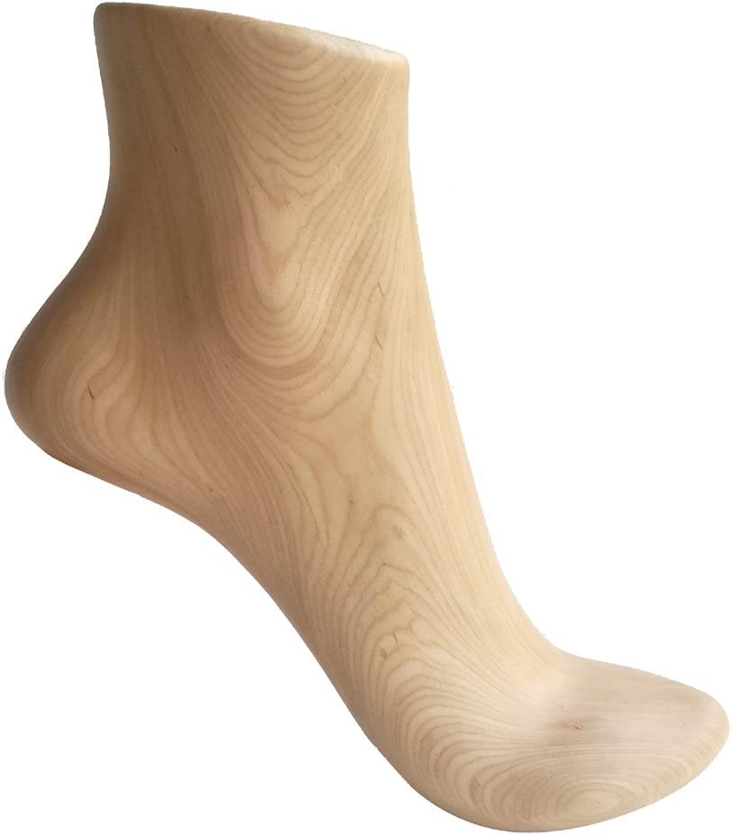 High Heel Shoes and Socks Display Props Natural Wood Color 1 Pair Kukin Wooden Foot Model