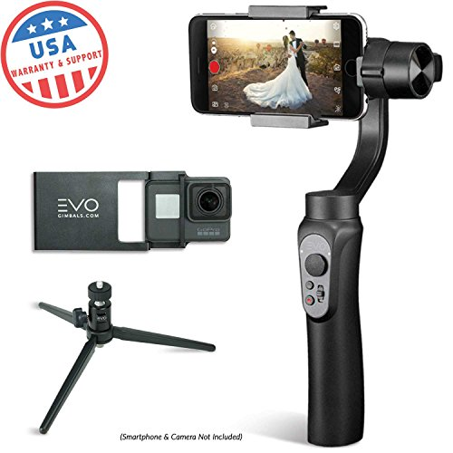 - EVO Shift 3 Axis Handheld Gimbal for iPhone & Android Smartphones | Black | 1 Year US Warranty | Bundle Includes: Shift + GoPro Adapter Plate + Tripod
