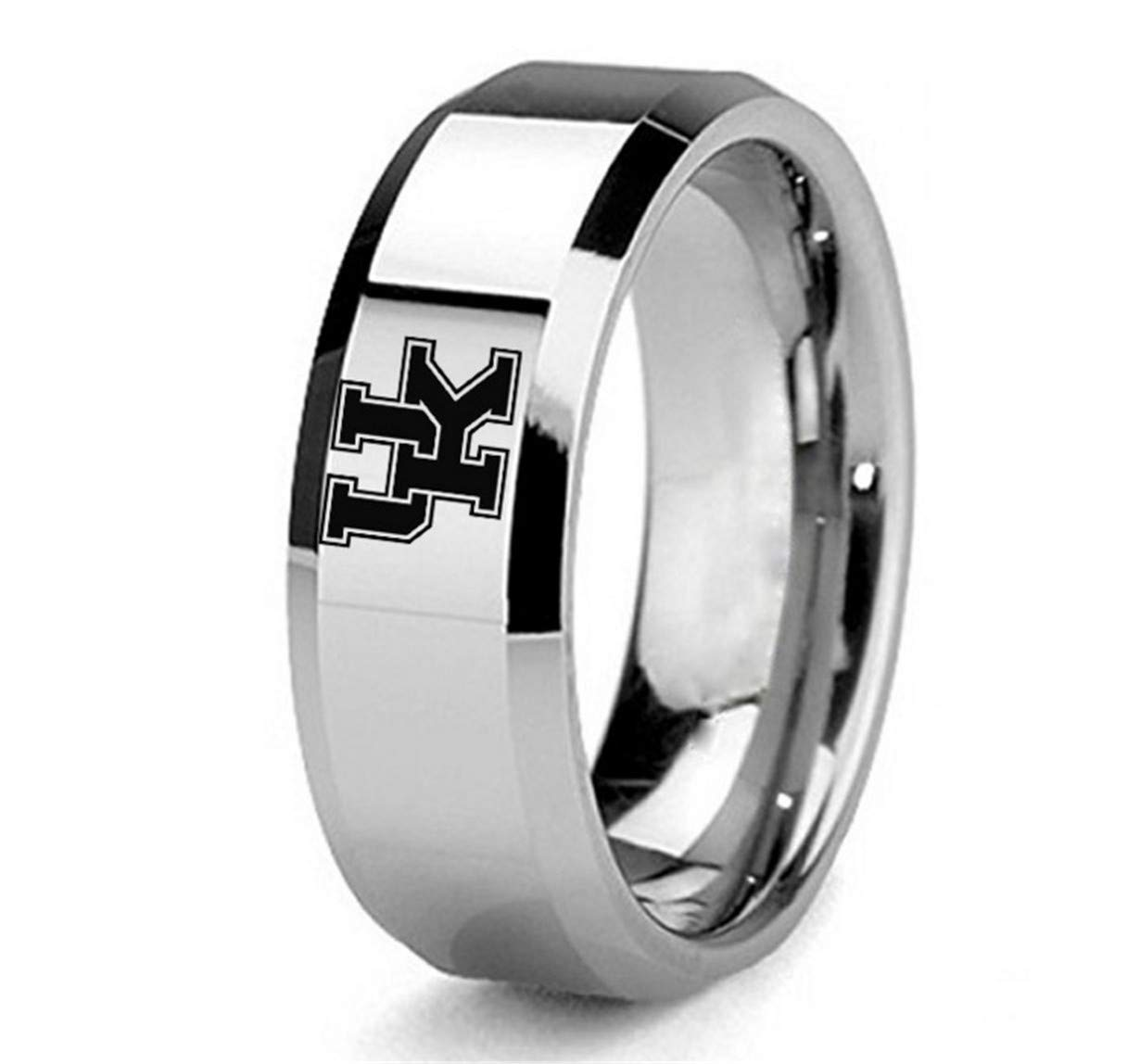 Kentucky Wildcats Titanium Steel Men's Team Ring Jewelry Silver, Size 11 by Tianorr