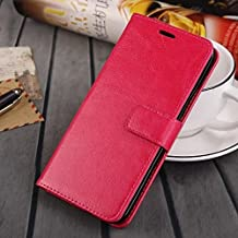 MEIZU MX5 case, solid color pattern wallet style case magnetic design flip folio PU Leather cover standup cover case for MEIZU MX5 ( Color : Red-MEIZU MX5 )