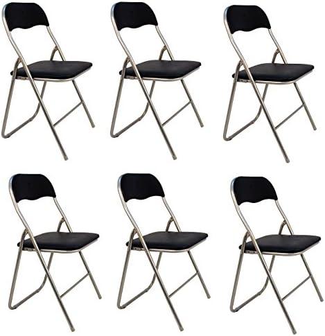 La Silla Española Pack 6 Sillas plegables de aluminio con asiento y respaldo acolchados en PVC, modelo Sevilla, Color negro, 78x43,5x46 cm