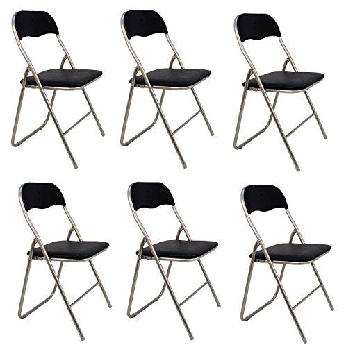 La Silla Espanola - Pack 6 Sillas plegables de aluminio con asiento y respaldo acolchados en PVC, modelo Sevilla, Color negro, 78x43,5x46 cm