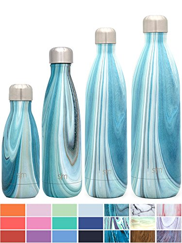 Simple Modern 34 oz Wave Water Bottle - Stainless Steel Hydro Swell Flask - Wide Mouth Metal Double Wall Vacuum Insulated Reusable 1 Liter Cold Leak Proof - Ocean Quartz